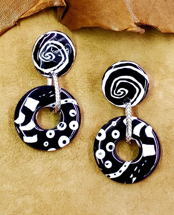 Treska ALLE9421 Black & White Post Earring