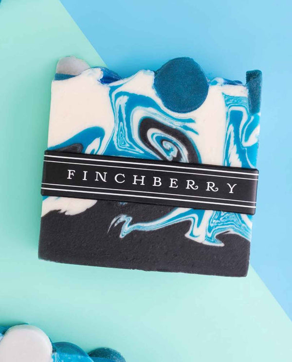 FinchBerry Zanzibar Vegan Soap marbled blue handmade vegan soap with a seductive scent