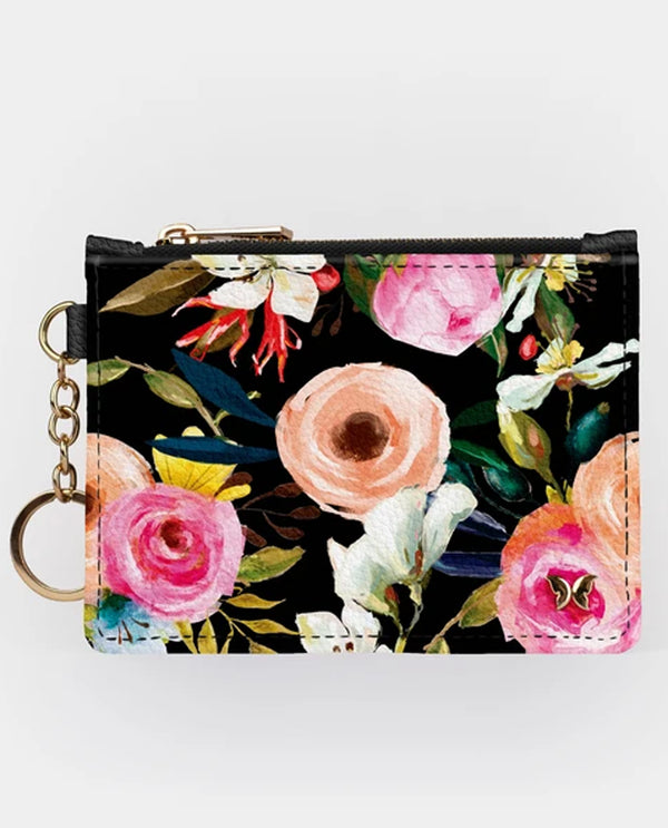 Floral On Black Key chain Wallet