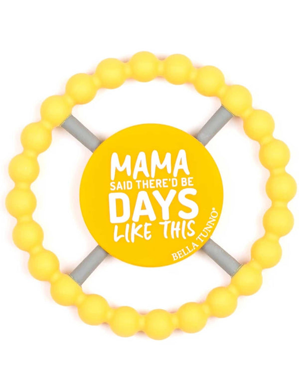 Bella Tunno TE84 Mama Said Teether yellow teething ring for babies with a saying in the middle