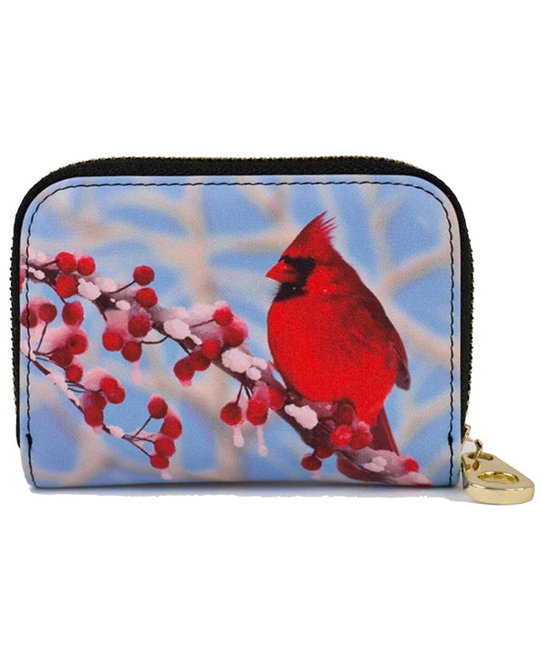 Rfid Cardinal Snow Zip Wallet