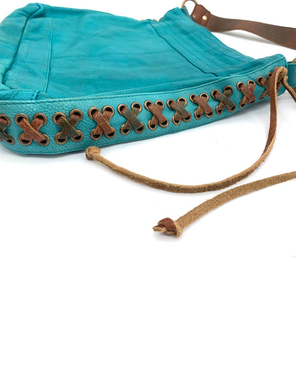 Side Lace Up Bag Turquoise