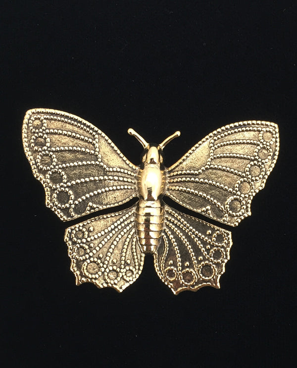 Gold Large Butterfly Brooch