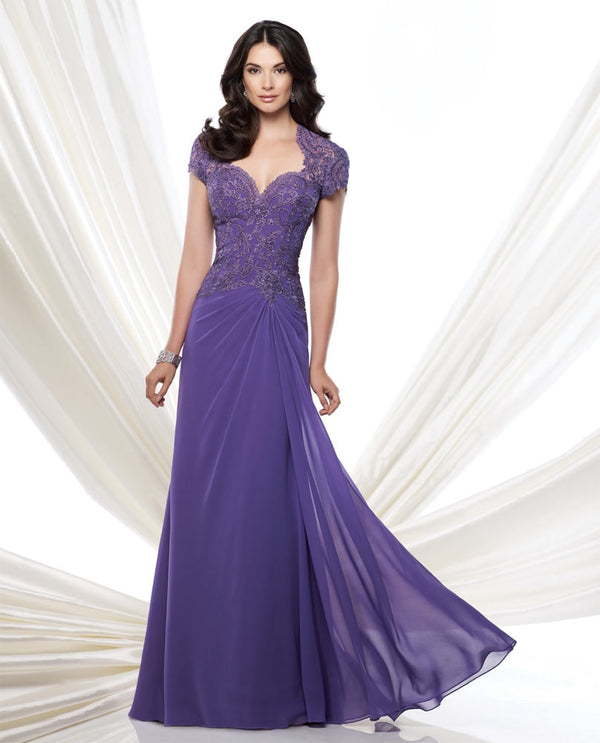 Montage 115974 Lace Cap Sleeve purple mother of the bride gown with chiffon sweep train skirt