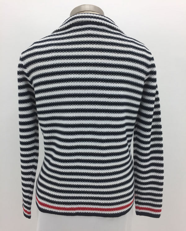 Renuar R3692 4114 Navy And White Striped Cotton Blend Jacket Back View