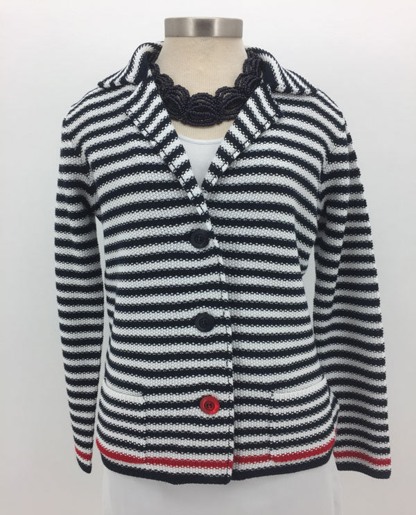 Renuar R3692 4114 Navy And White Striped Cotton Blend Jacket Front View