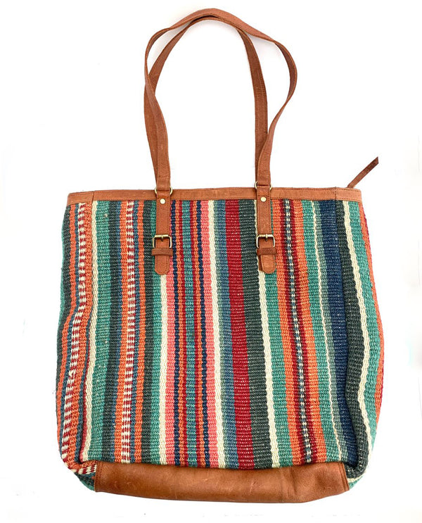 Leather Jute Tote