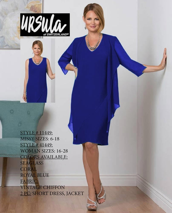 Ursula 41449 Womens 2 Piece Chiffon Dress royal blue short plus size mother of the bride dress