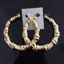 Load image into Gallery viewer, Large Bamboo Hip-Hop Style Gold Ladies Hoop Earrings