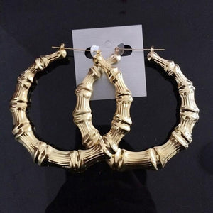 Large Bamboo Hip-Hop Style Gold Ladies Hoop Earrings