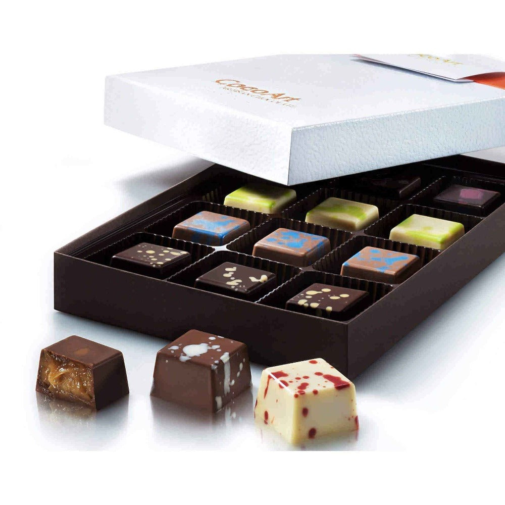 CocoArt Gourmet Artisan Chocolate Truffle Assortment Box - 12 Pieces Of Unique & Exquisitely Luxurious Chocolate Truffles -