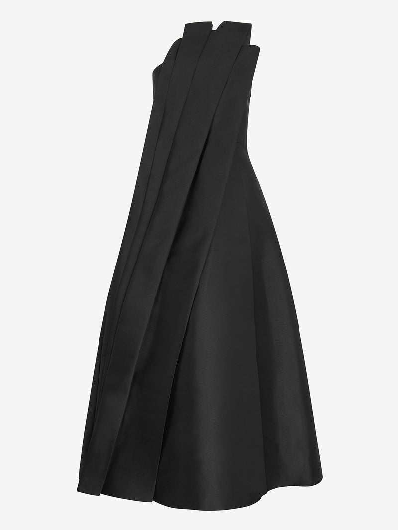 Architectural Pleated Dress (black satin)