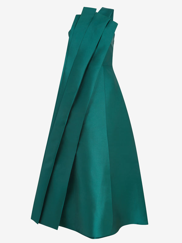 Architectural Pleated Dress (green satin)