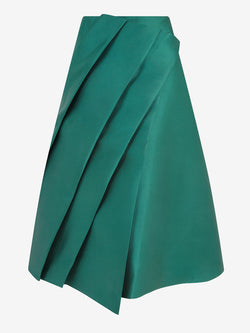 Architectural Pleat Skirt  (green satin)