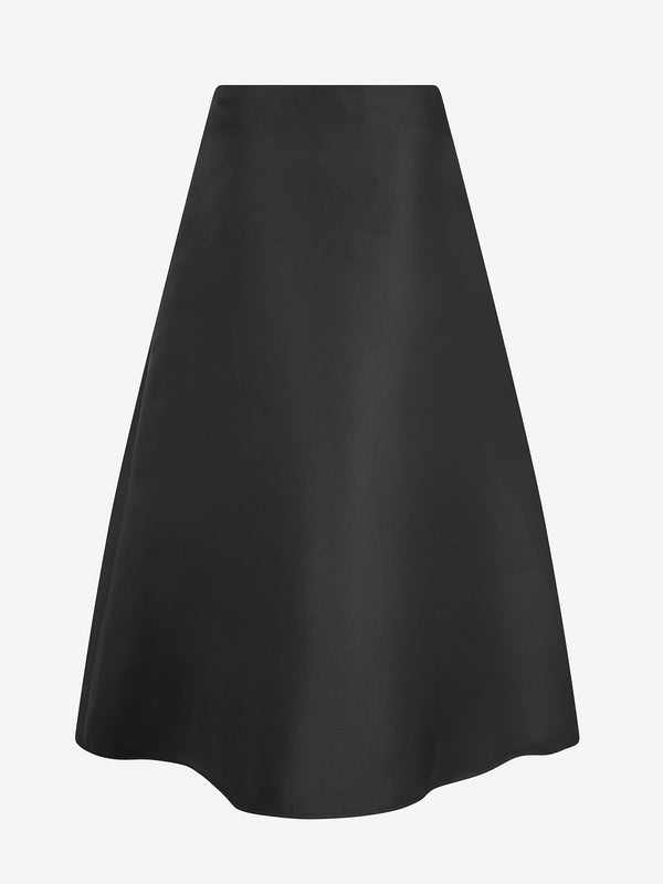 Architectural Pleat Skirt  (black satin)