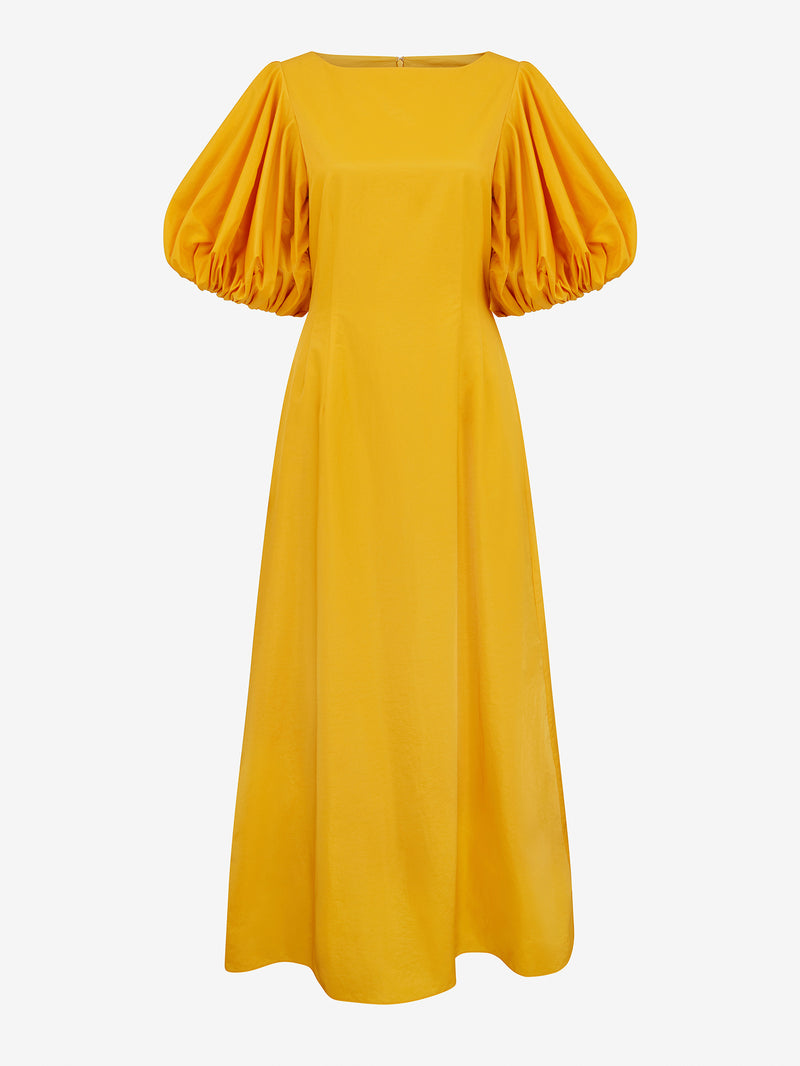 BALLOON SLEEVE MAXI DRESS (Sun yellow)