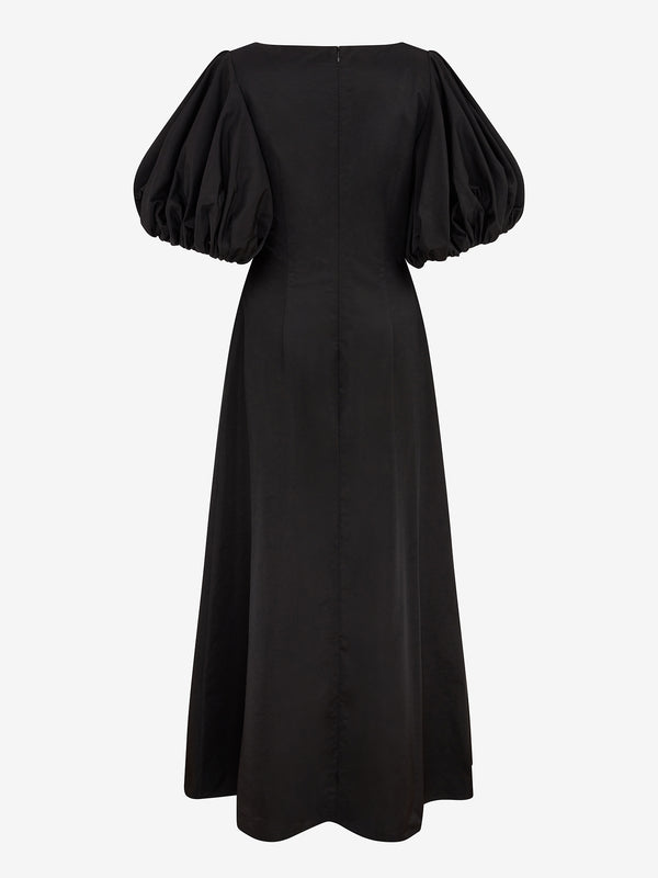 BALLOON SLEEVE MAXI DRESS (Black)
