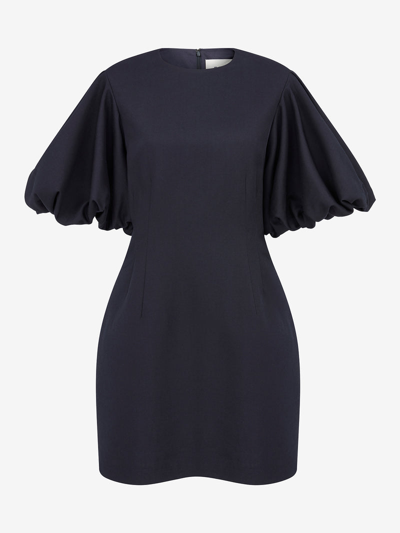 BALLOON SLEEVE MINI DRESS (Navy)