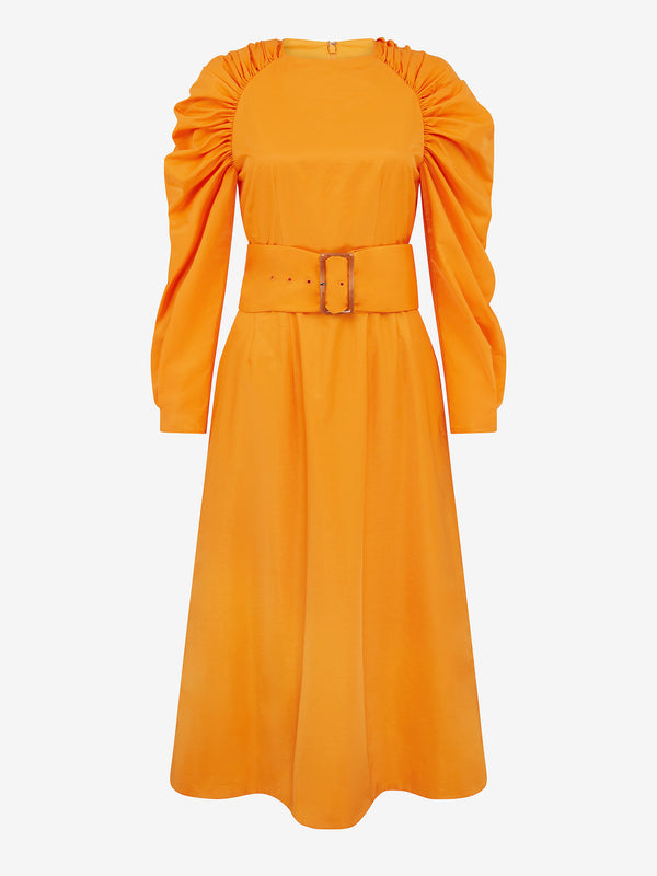 BELTED RUCHED SHOULDER DRESS (Flame orange)