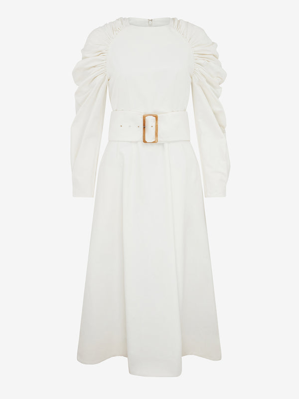 BELTED RUCHED SHOULDER DRESS (Ivory)