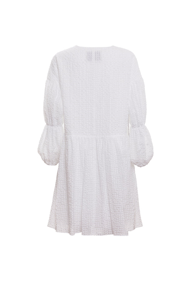 Tiered Sleeve Peplum Dress (Ivory)