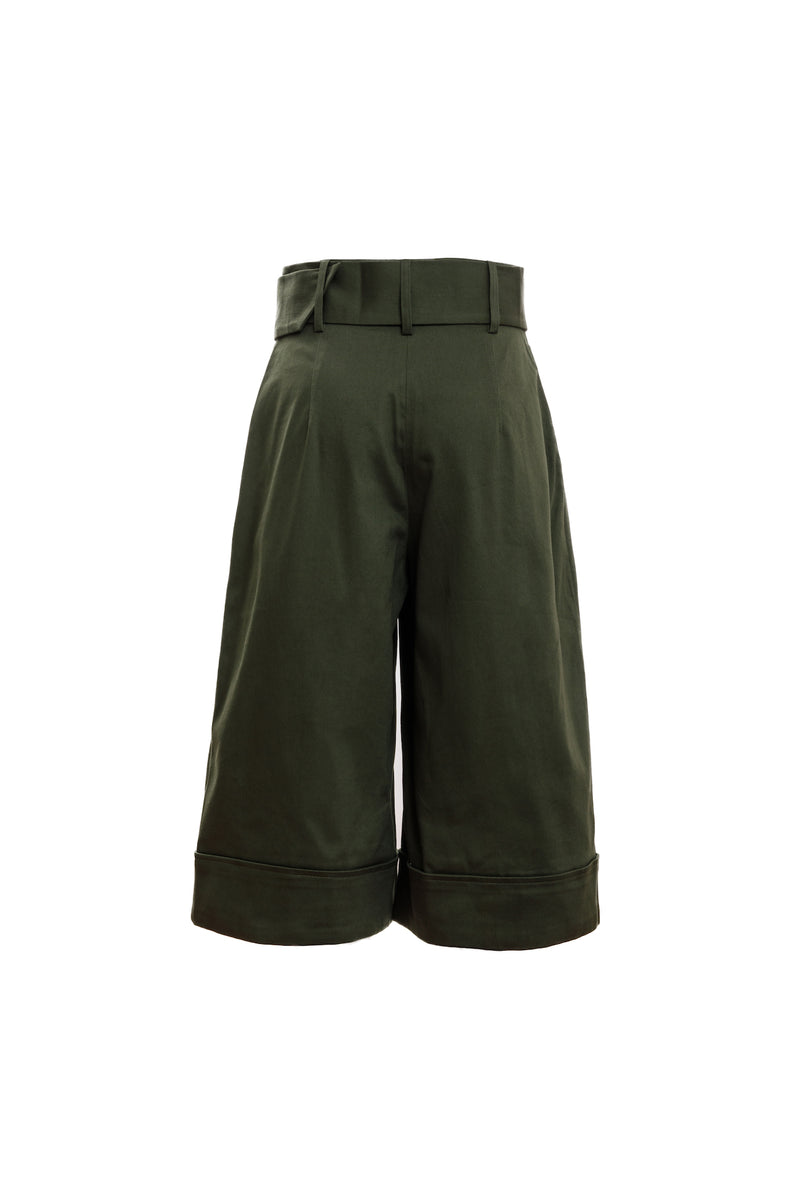 Belted Turn Up Short (Forest Green)