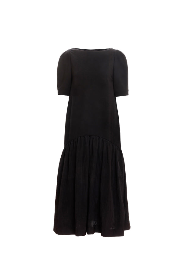 Volume Contrast Maxi Dress (Black)