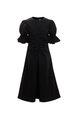 Flare Sleeve Ruched A Line Dress (Black)