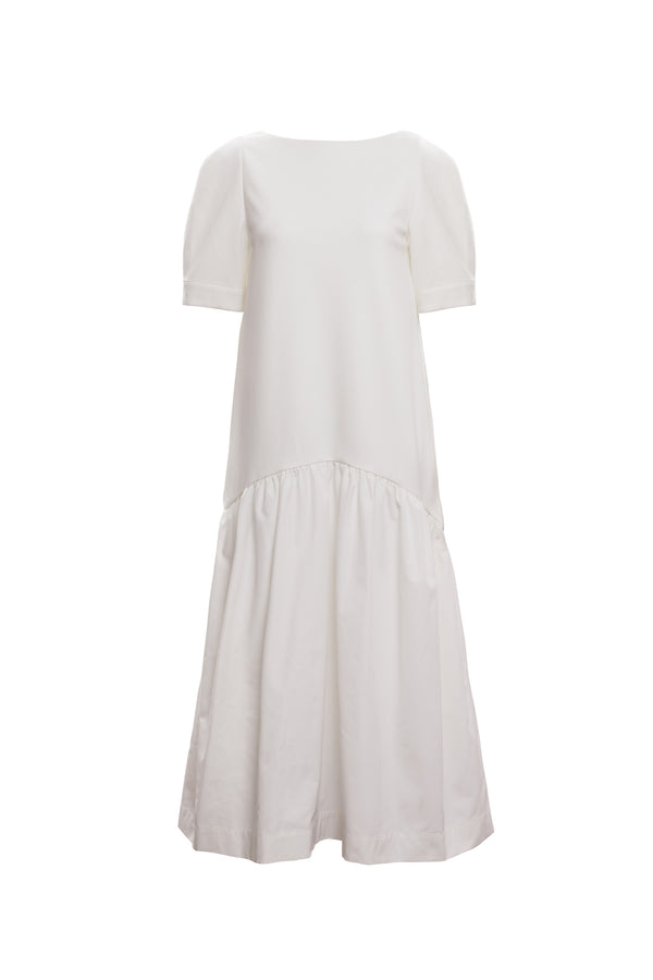 Volume Contrast Maxi Dress (Ivory)
