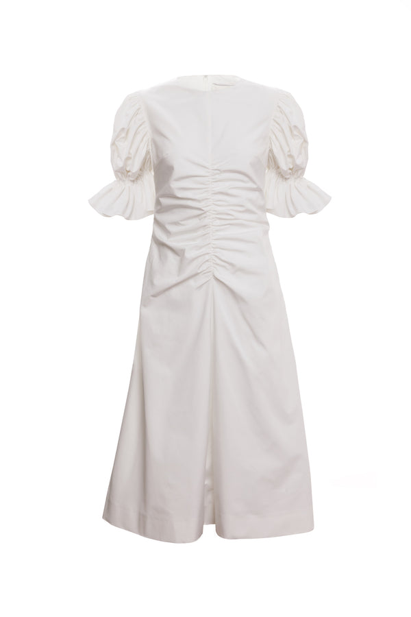 Flare Sleeve Ruched A Line Dress (Ivory)