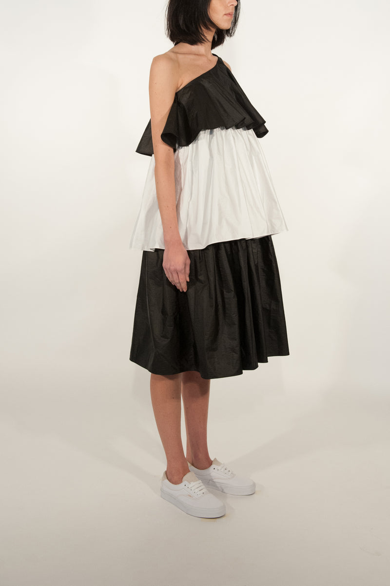 Peplum Triple Tiered One Shoulder Dress (Monochrome)