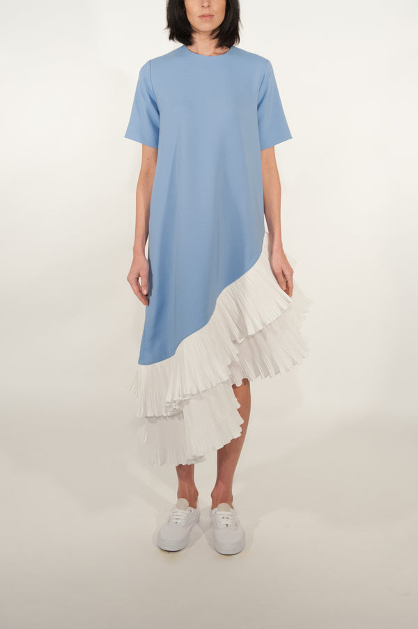 Pleated Asymmetric Oversized Dress