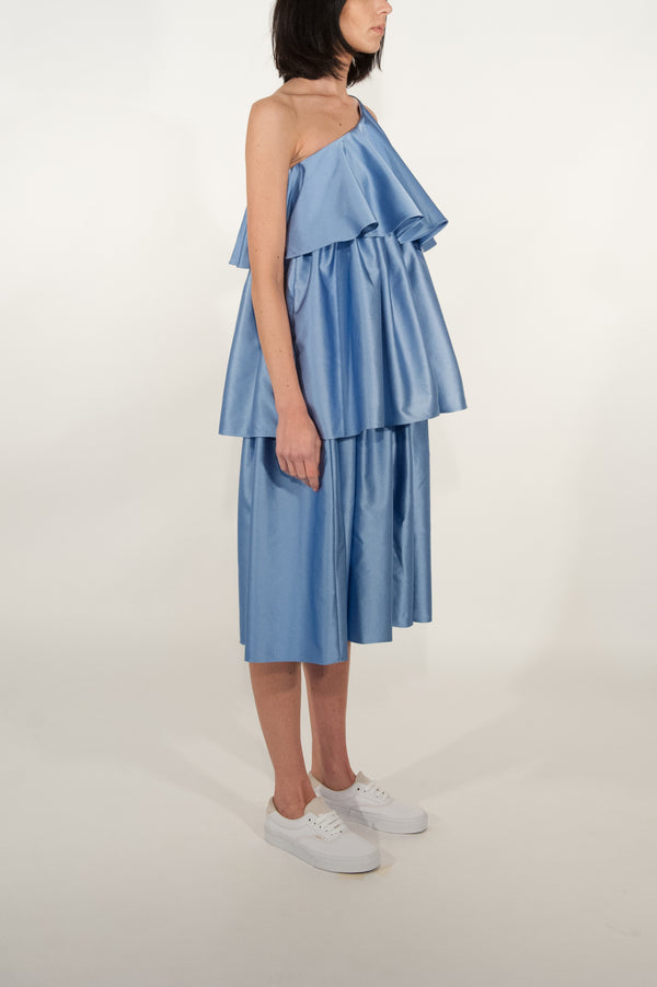 Peplum Triple Tiered One Shoulder Dress (Ice Blue)