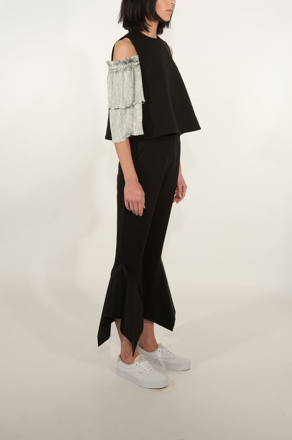 Pleated Tiered Sleeve Shell Top
