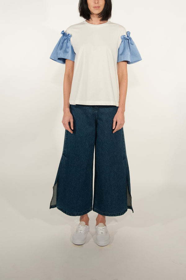 Satin Frill Sleeve T Shirt (Ice Blue)