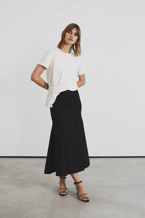 Fluted Hem Midi Skirt (black cotton)