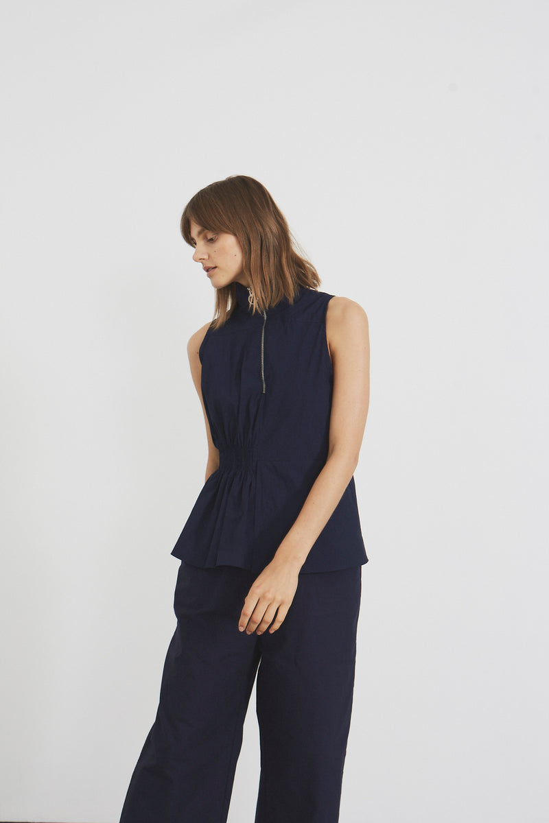 Funnel Neck A Line Top (navy cotton)