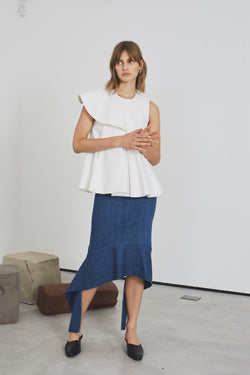 Abstract Peplum Straight Cut Skirt  (denim)