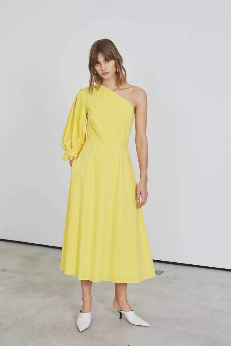 Origami Lantern One Sleeve Midi Dress (yellow cotton)