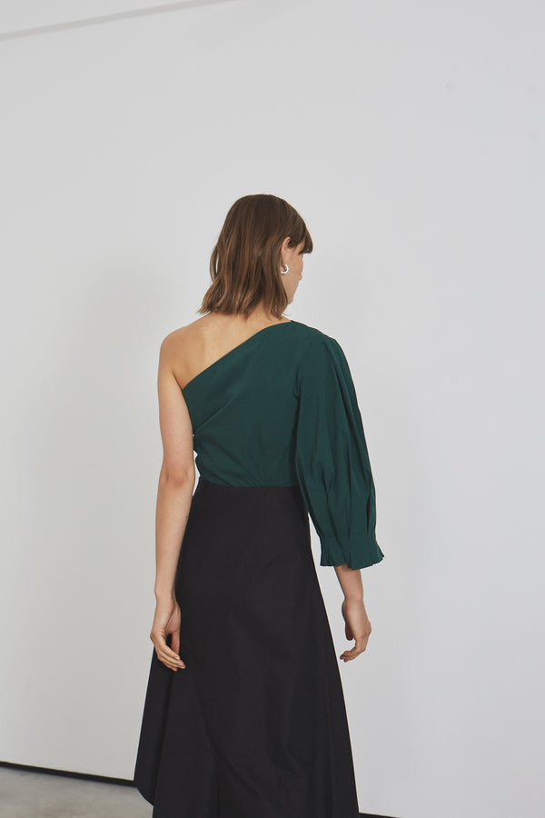 Origami Lantern One Sleeve Cropped Top  (green cotton)
