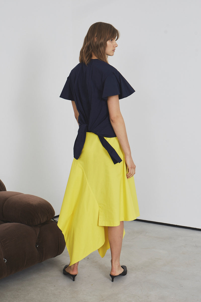 Abstract Peplum Maxi Skirt  (yellow cotton)
