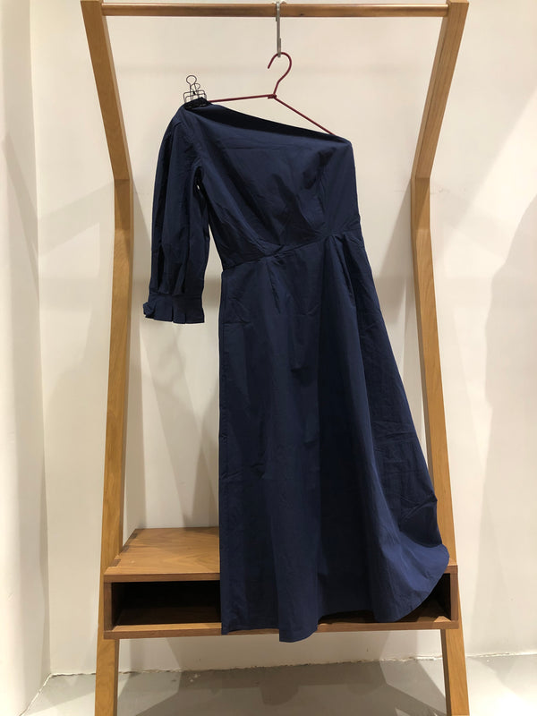 Origami Lantern One Sleeve Midi Dress (navy cotton)
