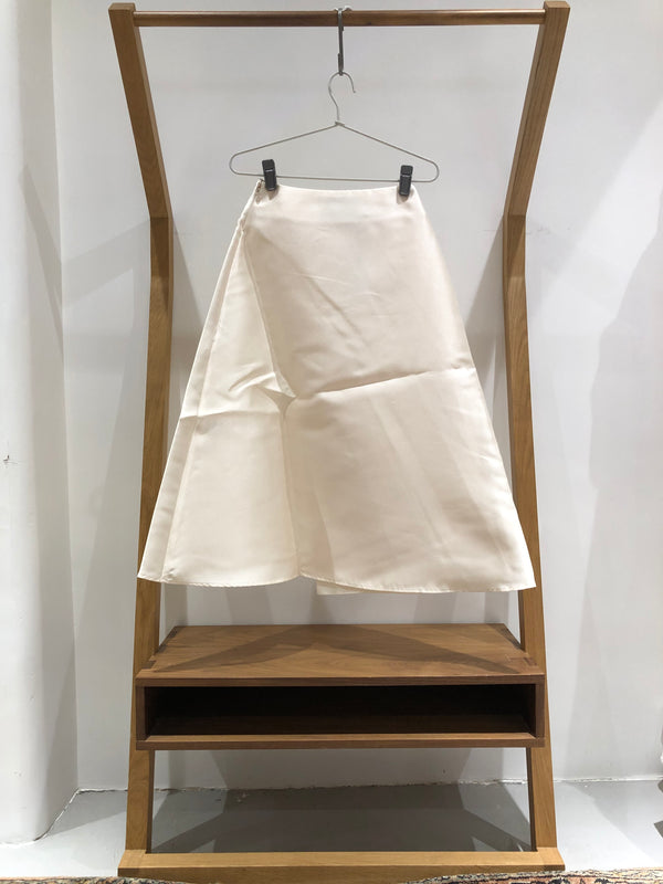 Architectural Pleat Skirt  (white satin)