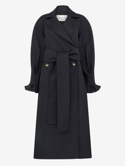 Trench Coat With Pleat Back (Black)