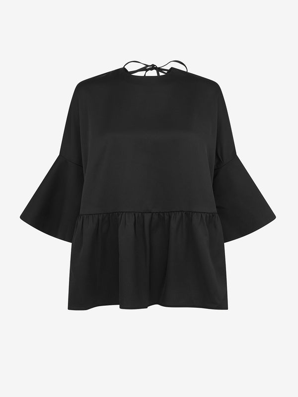 V Back Peplum Evening Top (Black)