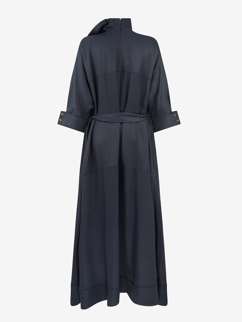 Scarf Neck Dress (Navy)