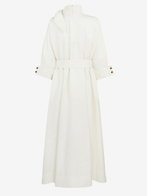 Scarf Neck Dress (White)