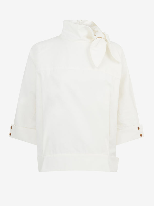 Scarf Neck Top (White)