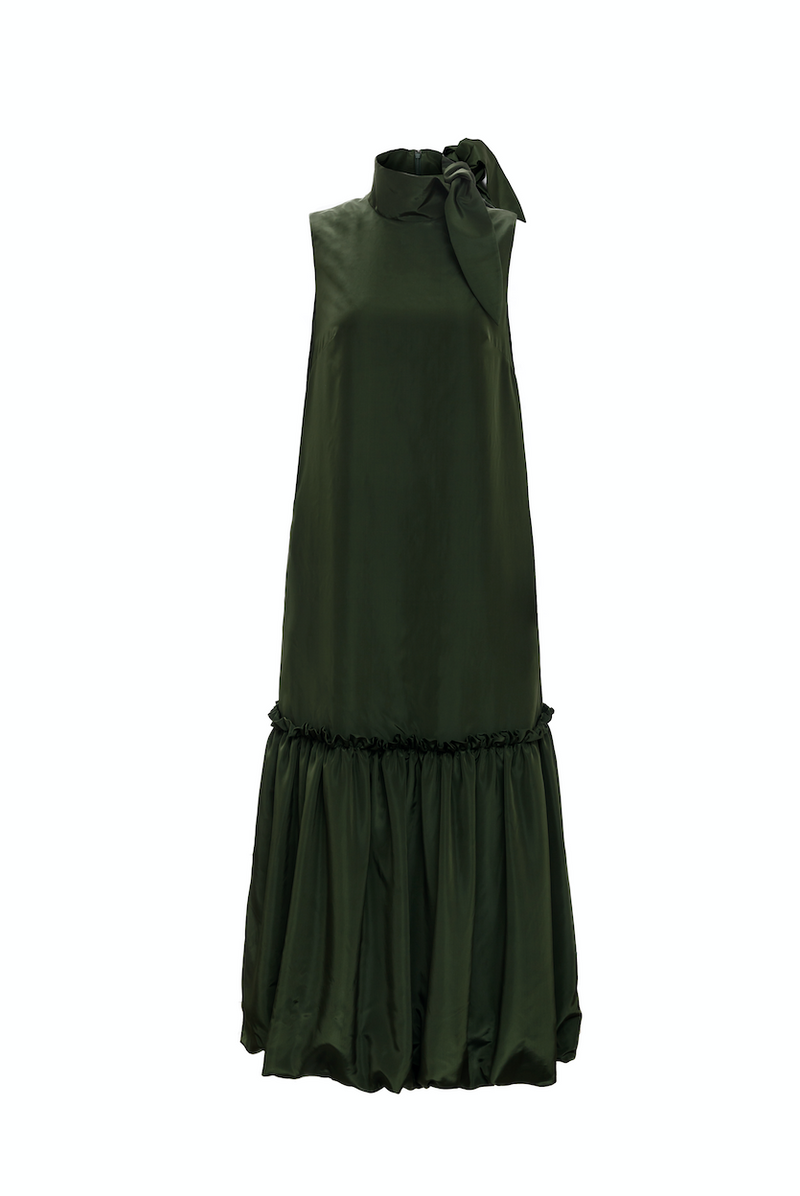 Scarf Neck Puff Peplum Dress (Forest Green)