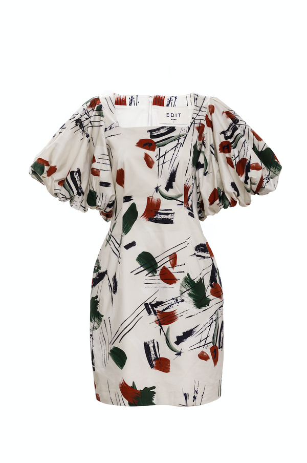 Balloon Sleeve Mini Square Neck Dress (Print)